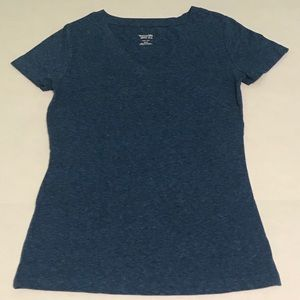 MOSSIMO Supply Co. Marled Blue V-Neck Tee Size XS